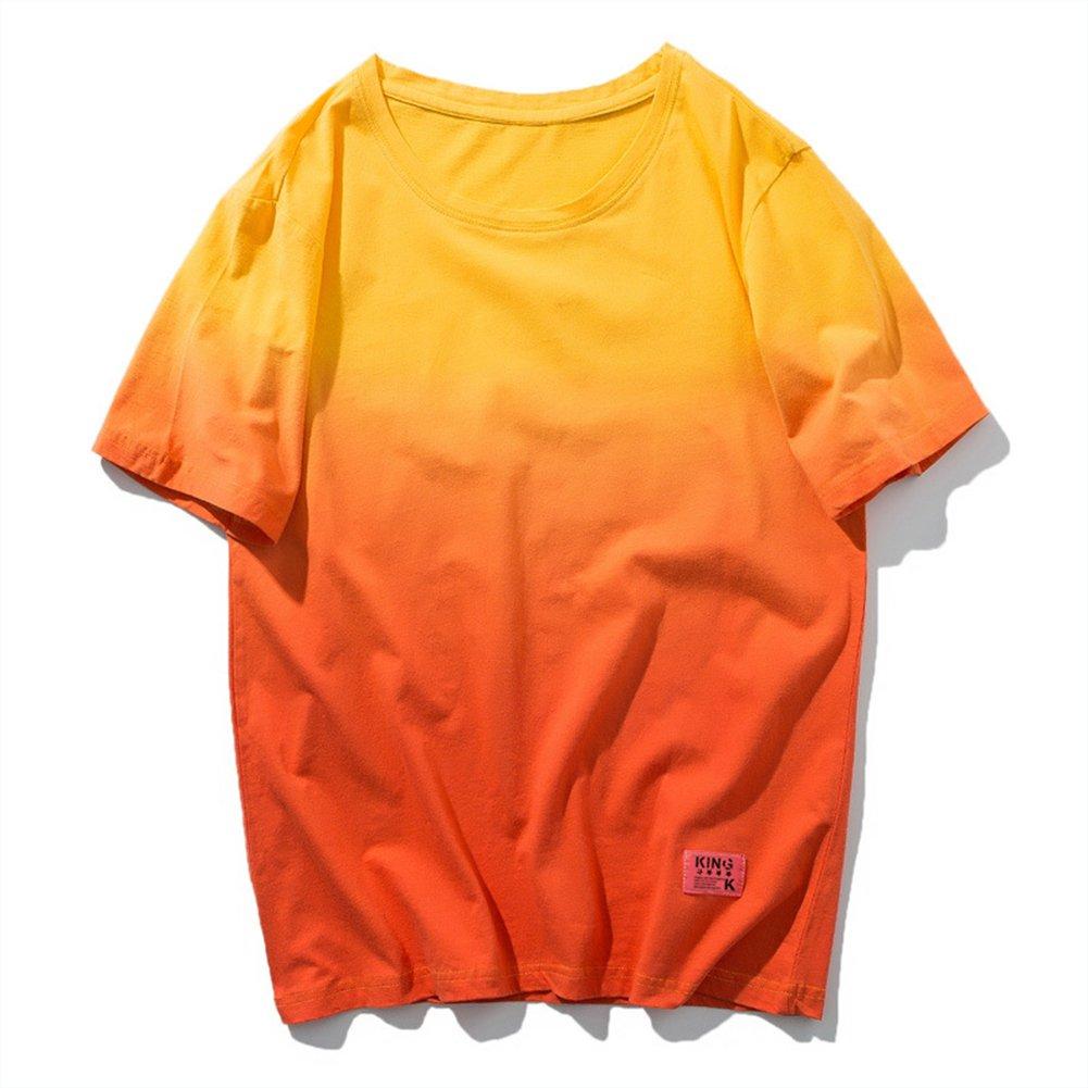 Sport T-Shirt Männer Gradient Baumwolle Kurzarm Breathable Sweat Fitness Reiten Wandern T-Shirt,1,L