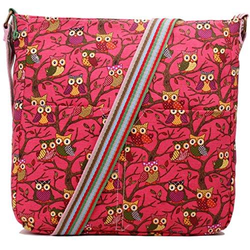 Mujer Niñas Búho Bolsa de lona de flores lunares mariposas - Owl Bright Rose