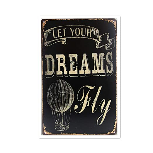 Shunry Let Your Dreams Fly Placa Cartel Vintage Estaño Signo ...