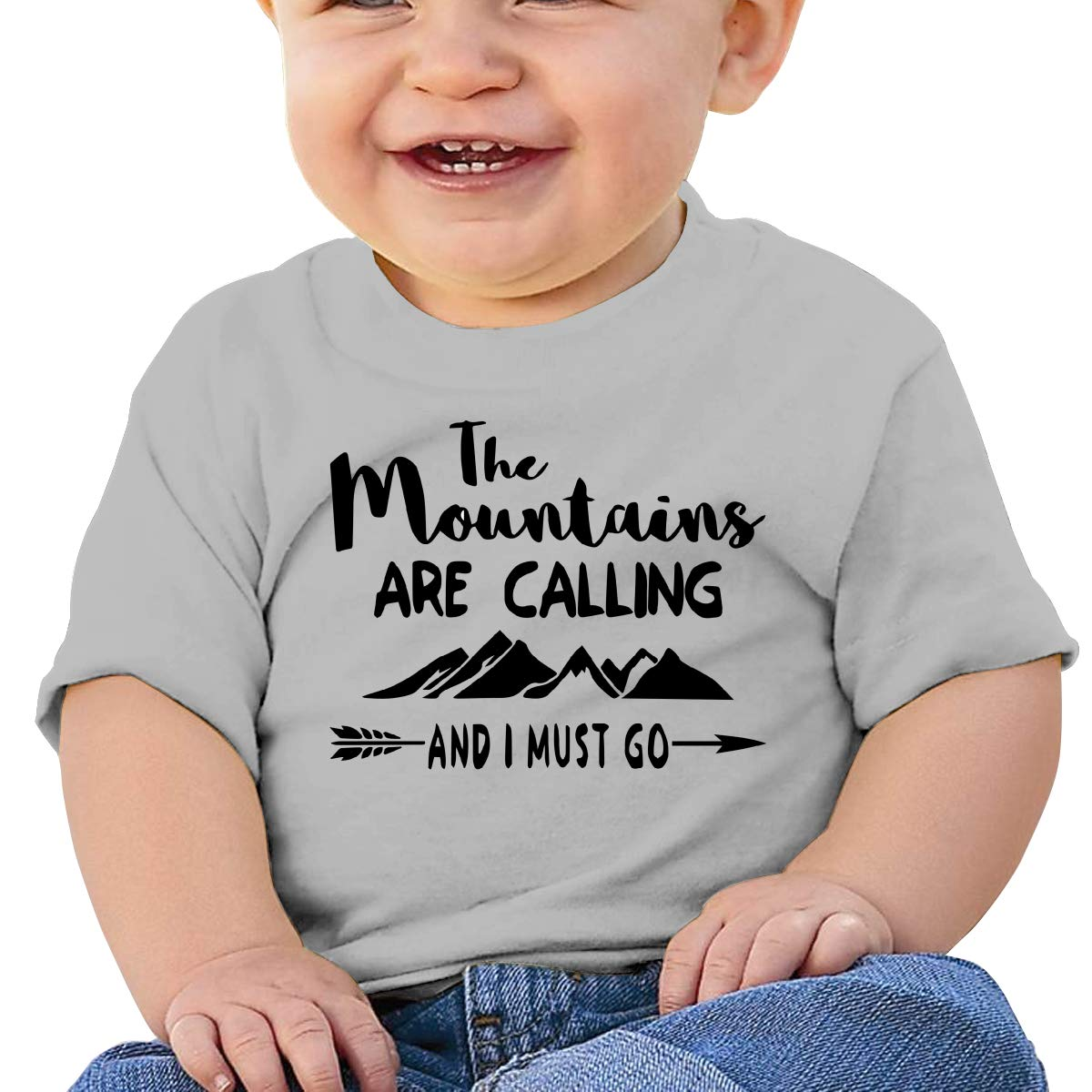 The Mountains are Calling and I Must Go Logo Baby T-Shirt Little Baby Cotton T Shirts Soft Clothes for 6M-2T Baby