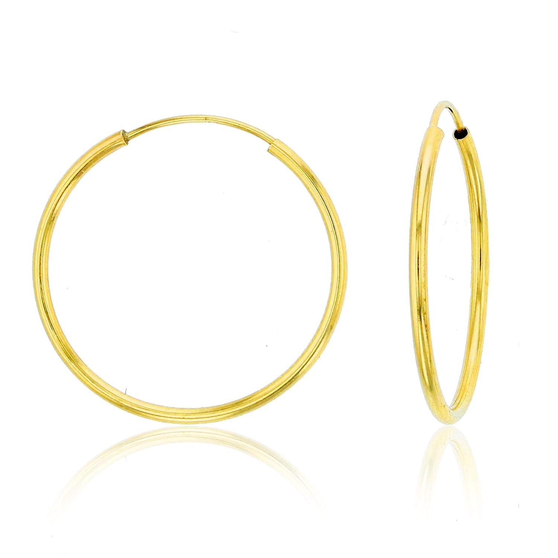14K Gold Yellow 1mm Endless Flex Hoop Earrings