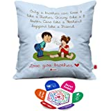 Indigifts Bro Like Father Quote Printed Quirky Square Cushion Cover with Filler (Blue White)