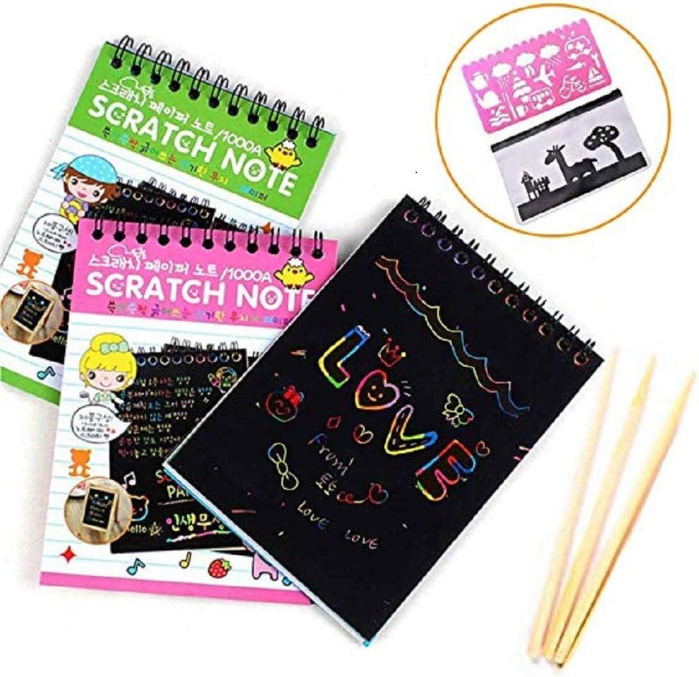 Pack de 3 mini notas de arco iris con lápiz de madera para rayar y mágico, ideal para niñas o niños, actividades de viaje para avión o coche: Amazon.es: Juguetes y juegos