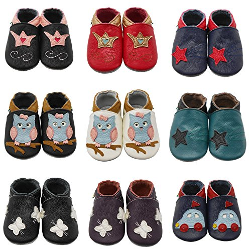 Sayoyo Baby Owl Shoes Soft Leather Sole Infant Toddler Prewalker Shoes (12-18 months, Black)