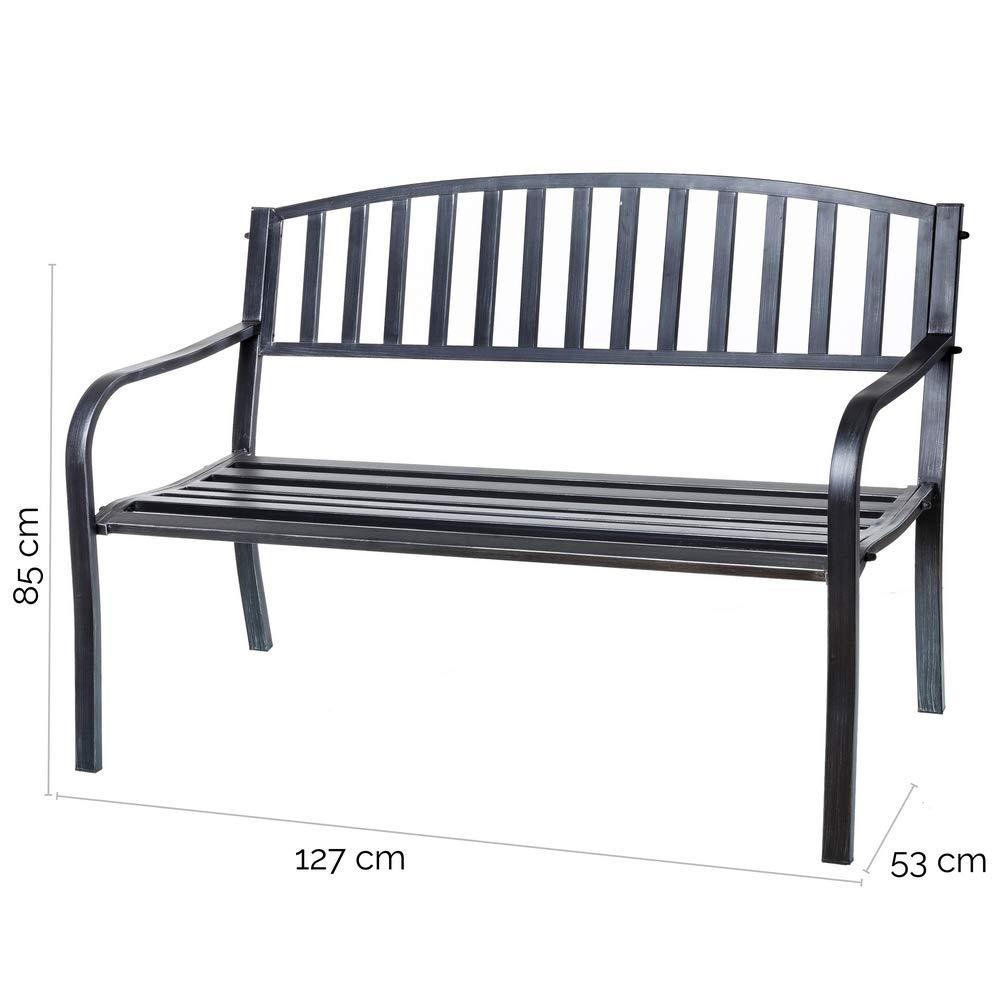 Effetto Anticato Colore: Nero in Acciaio Ldk Garden Panchina da Giardino
