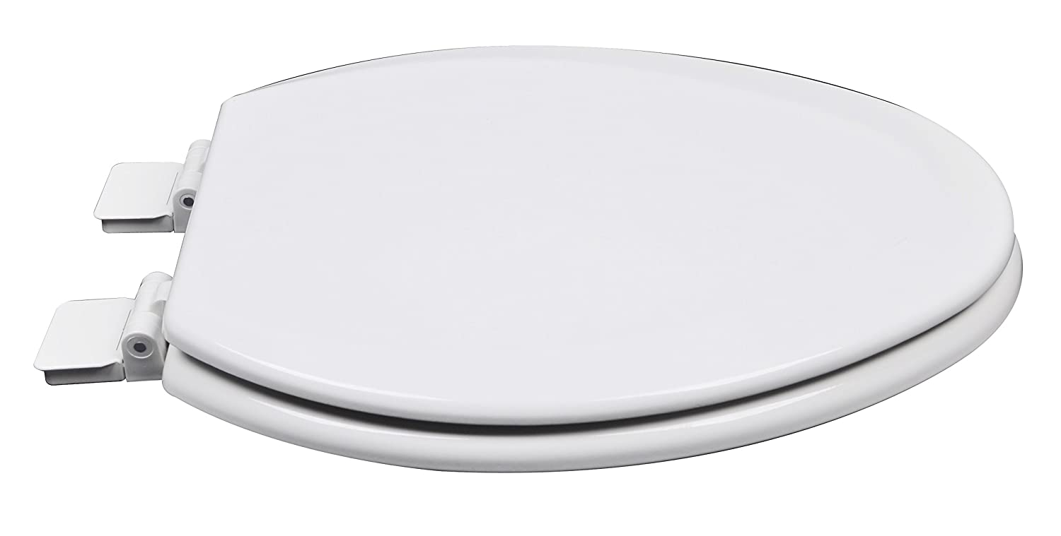 Silver//Gray Bath D/écor 1F1R5-80 Premium Molded Wood Round Toilet Seat with Adjustable Hinge /& OSG