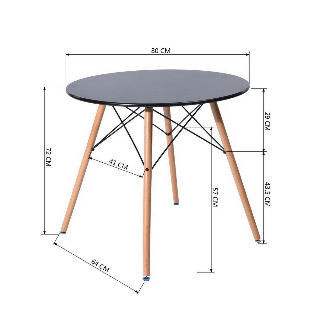 378840d93f46 Mesa de comedor redonda 80 cm diseño escandinavo madera negro FITATHOME  Comedor