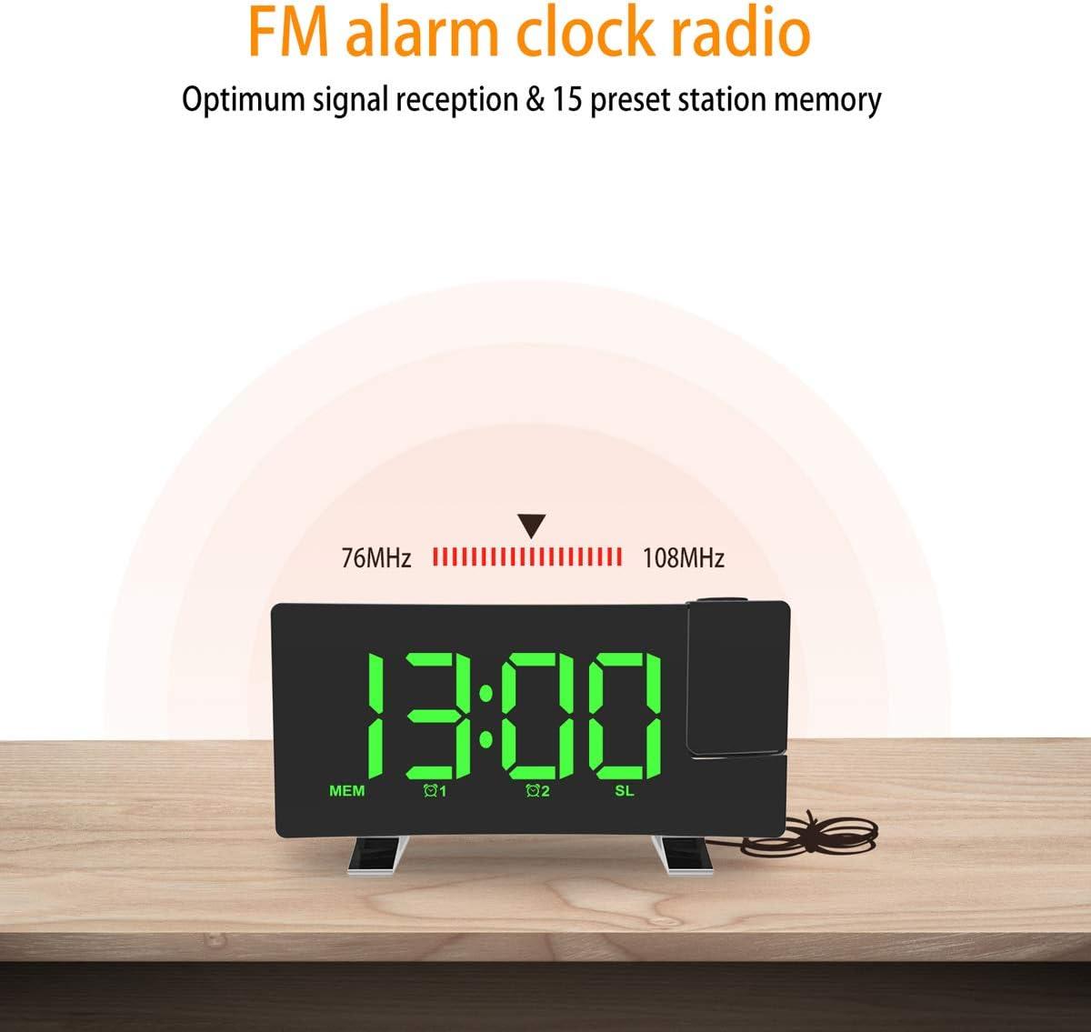 FM Sveglia Digitale Radio FM a Schermo Curvo//Proiezione a Tempo//Proiettore Regolabile//Snooze//Doppio Allarme//Porta Caricatore USB ALLOMN Sveglia a Proiezione 12//24 Ore//Dimmer Bianca
