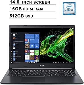 2020 Newest Acer Aspire 5 14 Inch FHD 1080P Laptop (8th Gen Intel 4-Core i7-8565U up to 4.6GHz, 16GB DDR4 RAM, 512GB PCIe SSD, Intel UHD 620, WiFi, Bluetooth, HDMI, Webcam, Windows 10 Home)