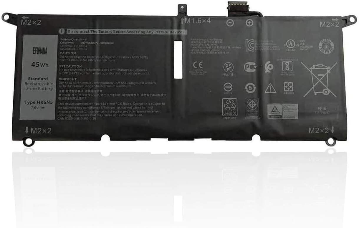 efohana HK6N5 Laptop Battery Replacement for Dell Inspiron 5390 5391 7490 Inspiron 7390 7391 2-in-1 Vostro 5390 5391 XPS 7390 9370 9380 Latitude 3301 Series Notebook DXGH8 DGV24 WDK63 7.6V 45Wh