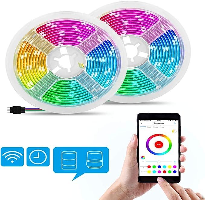 Alexa Tira de luces LED, 10 m WiFi RGB LED tiras, APP Controlable Música LED Cadena de luz para casa, TV, Fiesta, Navidad, Halloween, decoración, compatible con Alexa, Google Home: Amazon.es: Iluminación