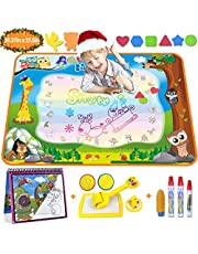 Aqua Magic Doodle Mat Large Water Drawing Mat for Kids Gifts Educational Toy Toddler Painting Board with Water Coloring Book, 3 Magic Pens, 1 Magic Brush and Stamps for Boys Girls Age 36 Months up