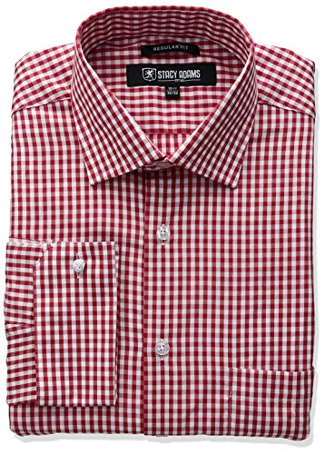 STACY ADAMS Men's Gingham Check Dress Shirt, Red, 16