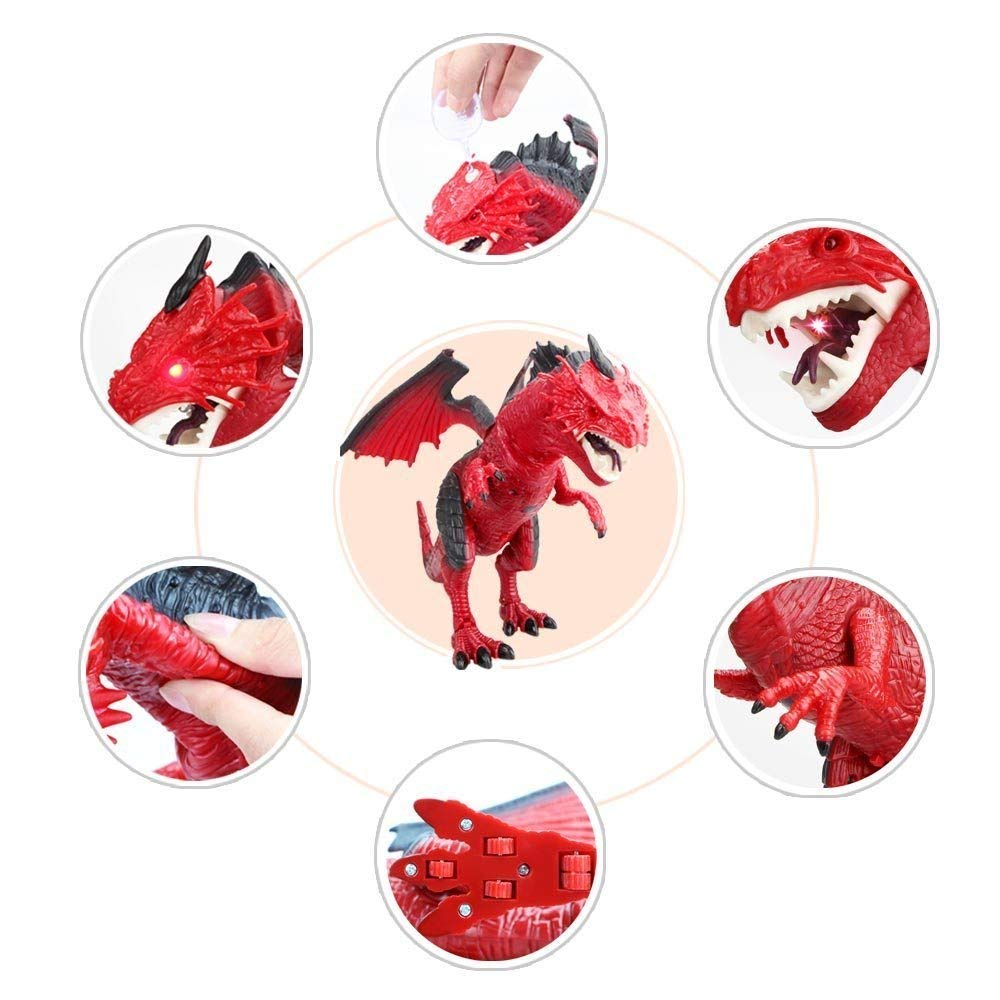 Remote Control Electronic Walking Dinosaur Toy Children RC Animal Toys w/ Simulation Roaring , Spraying Smoke , Shaking Head , Flapping Wings Functions ,Cool for Boys & Girls (Red) by O.B Toys&Gift (Image #5)