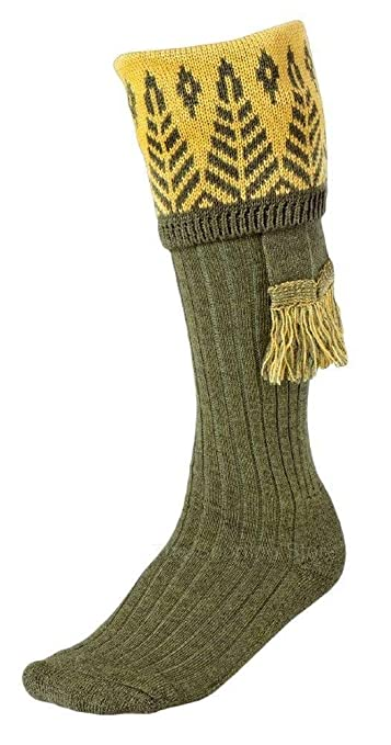History of Vintage Men's Socks -1900 to 1960s Seeland Classic Shooting Forest Sock and Garter Set Hunting $67.98 AT vintagedancer.com