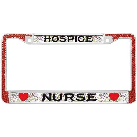 Amazon GND Hospice Nurse Rhinestones License Plate Frame RedRN Classy Hospice Nurse Quotes