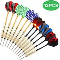 Awroutdoor 12 Packs Steel Tip Darts Set 25 Grams with Different Style Flights, Aluminum Shafts, Brass Barrels and Dart Sharpener