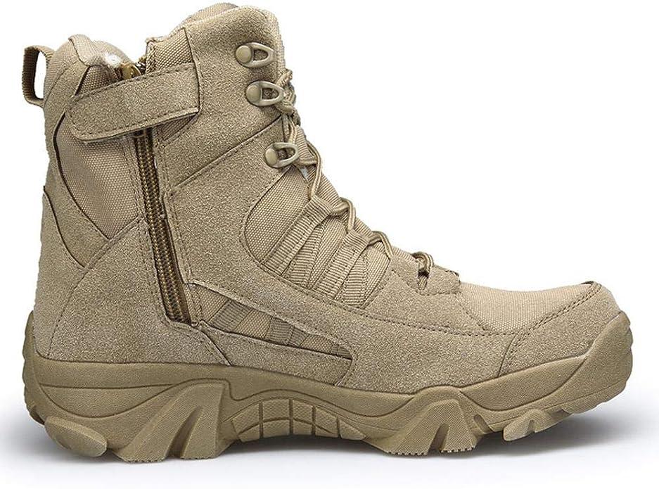XIEZI Uomo Traspirante Low-Cut Boots Esterno Militare Fuori Strada Basso-Top Antiscivolo Ammortizzatore Combat Boots Ultra Light Beige-39