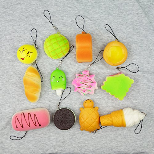 Random 10 Pack Squishies Squishy Toys Charms Cell Gift Phone Chain Phone Straps - Buy Online in ...