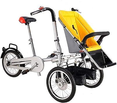 K-G Bicicleta Infantil Bicicleta Plegable de 3 Ruedas para 1 bebé Adulto y Gemelos, Bicicleta Padre-Hijo, Cochecito de bebé 2 en 1, 4 Modos descapotable Gratis: Amazon.es: Deportes y aire libre