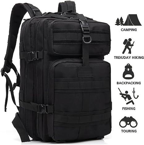 loowoko Militar Táctico Mochila Ejército Militar supervivencia mochila Bug Out Bag Mochila Assault Pack, Negro: Amazon.es: Deportes y aire libre