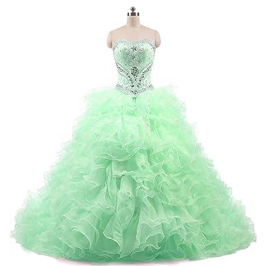 Dydsz Womens Quinceanera Dresses Prom Dress Cheap Beaded Lace Ball Gown 2 Piece D233 Aqua 2