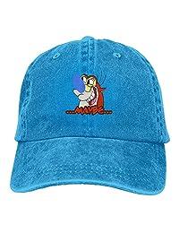 Quxueyuannan Ren and Stimpy Cap Adjustable Vintage Washed Denim Baseball Cap Dad Hat