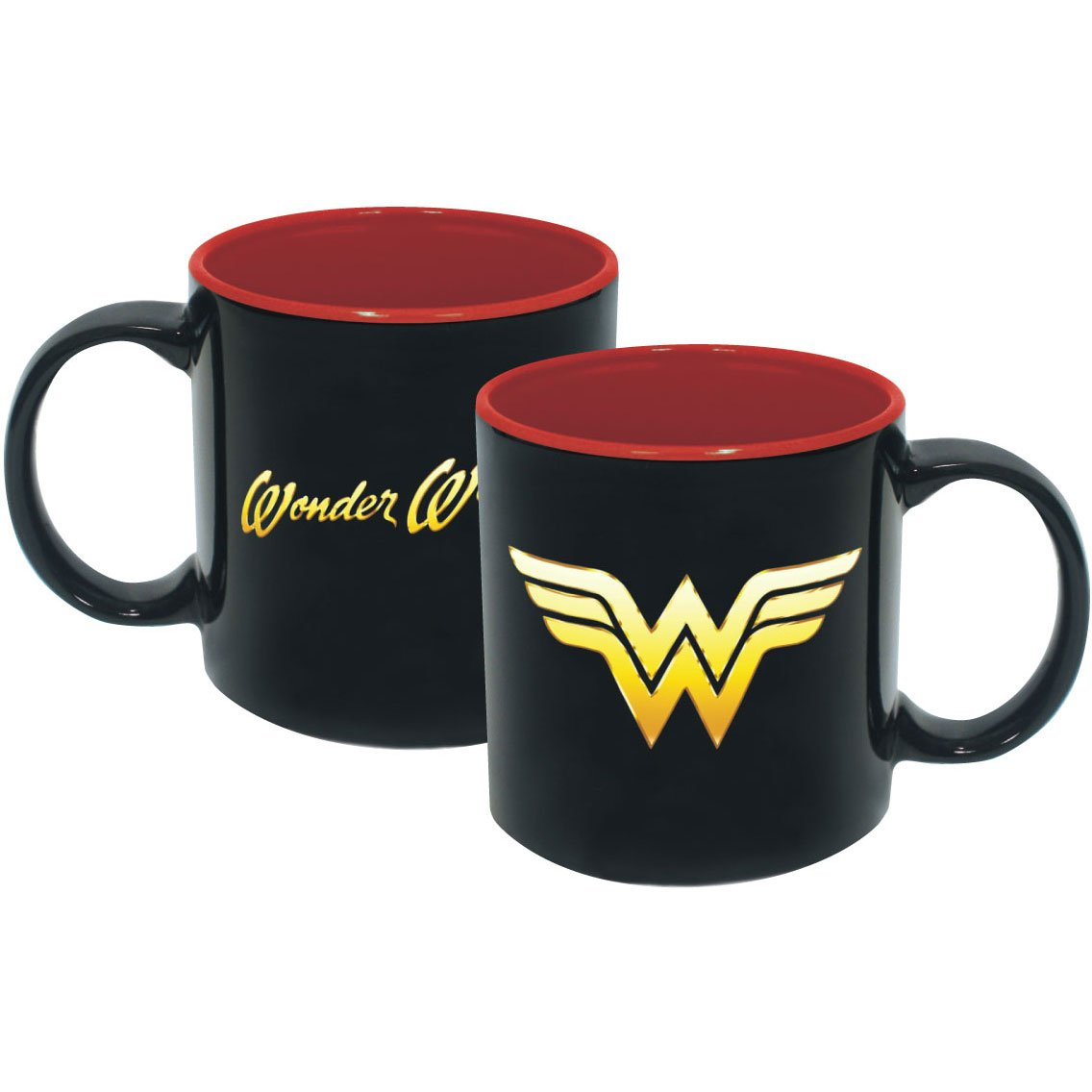 ICUP DC Wonder Woman Iridescent Insignia, 20 oz, Black & Red