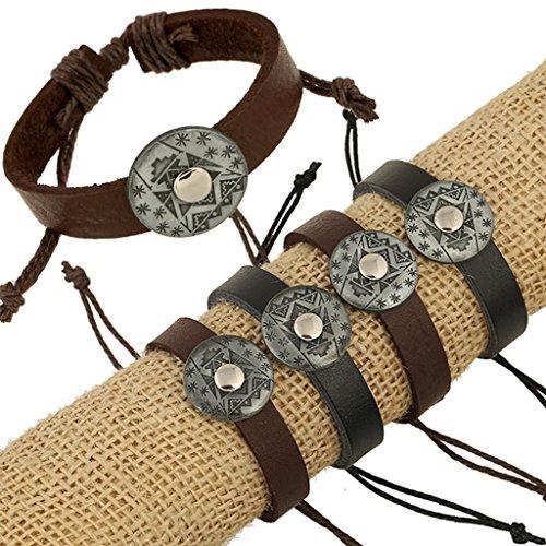 [Bishilin Original Vintage Knitting Black Leather Cuff Wrap Bangle Bracelets] (Diy Woman Wolf Costume)