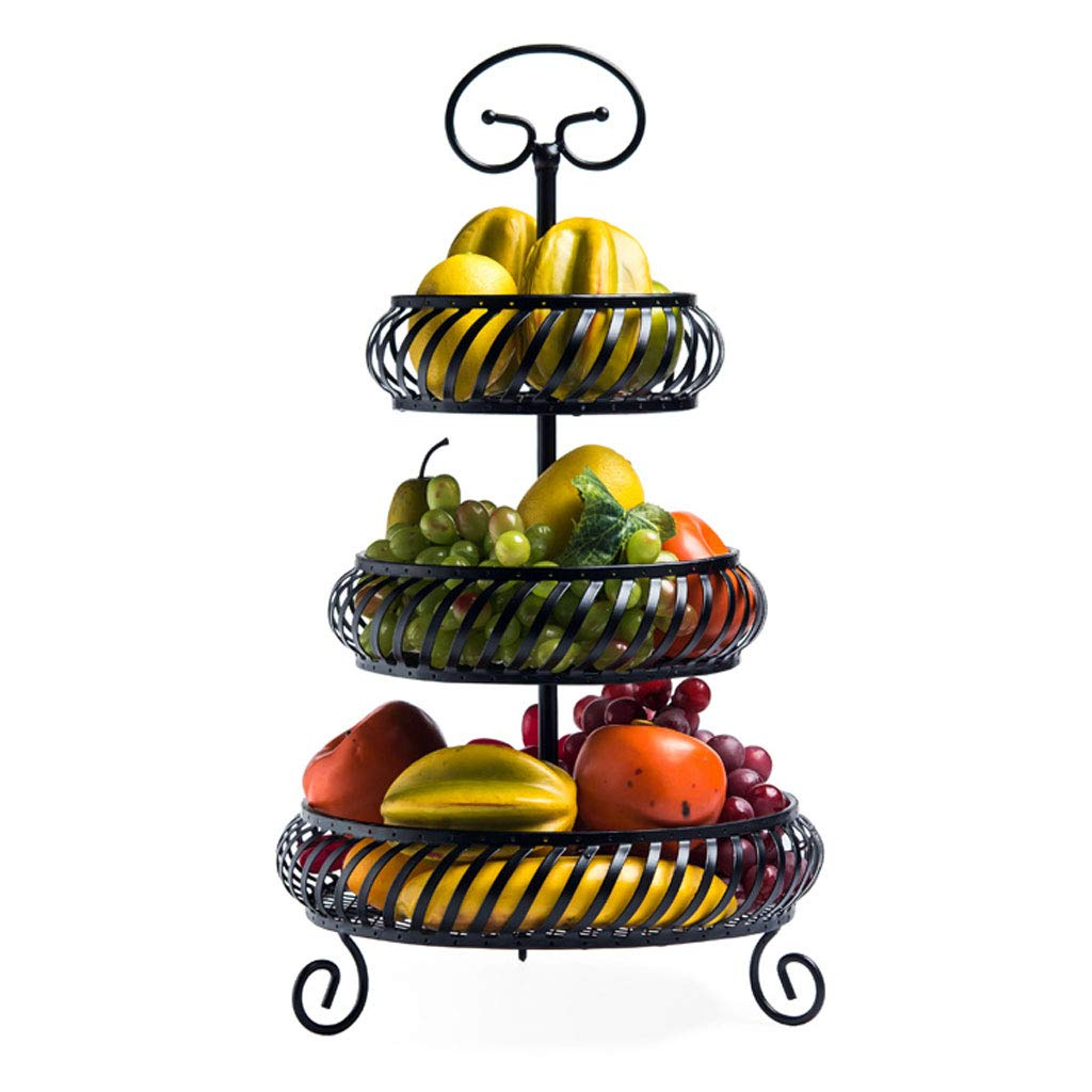 ファッションクリエイティブ多層メタルフルーツボウルプレートバスケットフルーツラックキッチンリビングルームの家の装飾 (色 : 黒)  黒 B07MX3CLDJ