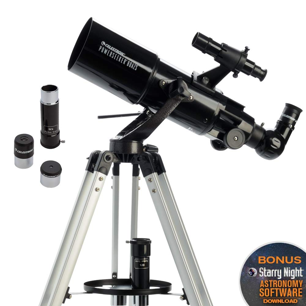 Celestron - PowerSeeker 80AZS Telescope - Manual Alt-Azimuth Telescope for Beginners - Compact and Portable - BONUS Astronomy Software Package - 80mm Aperture by Celestron