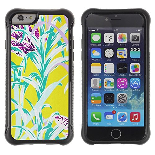 "All-Round Hybrid Rubber Case Hard Cover Protective Accessory Compatible with Apple iPhone 6PLUS ¡ê¡§5.5"") - Flowers Yellow Teal Nature Summer"