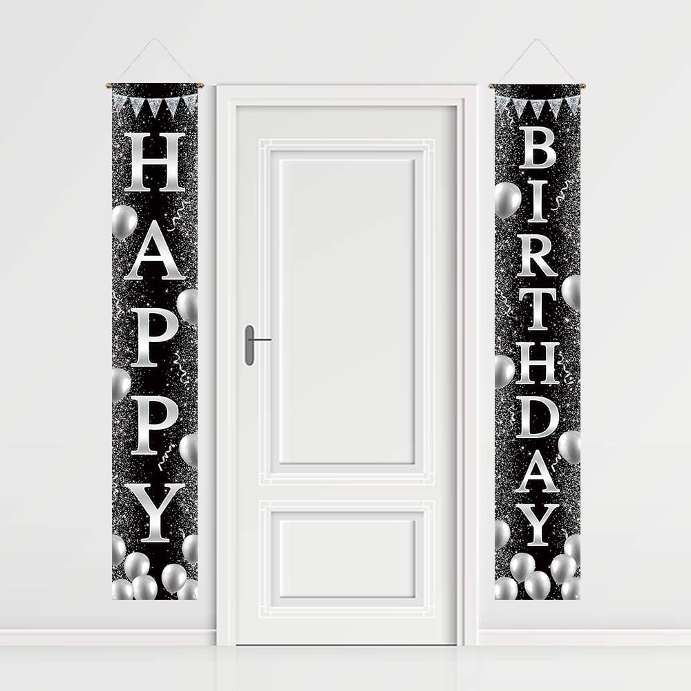 Funnytree Happy Birthday Porch Sign Black and Silver Bday Party Front Porch Banner Glitter Backdrop Lawn Decor Wall Hanging Flag Outdoor Indoor Photobooth Prop Windproof Events Supplies Polyester 2PCS