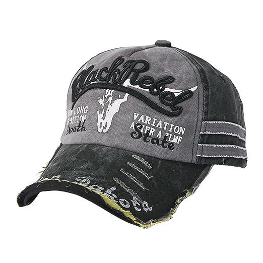bcb9322d66f95 Shybuy Vintage Cotton Adjustable Dad Hat Baseball Cap Distressed Hat  (Black