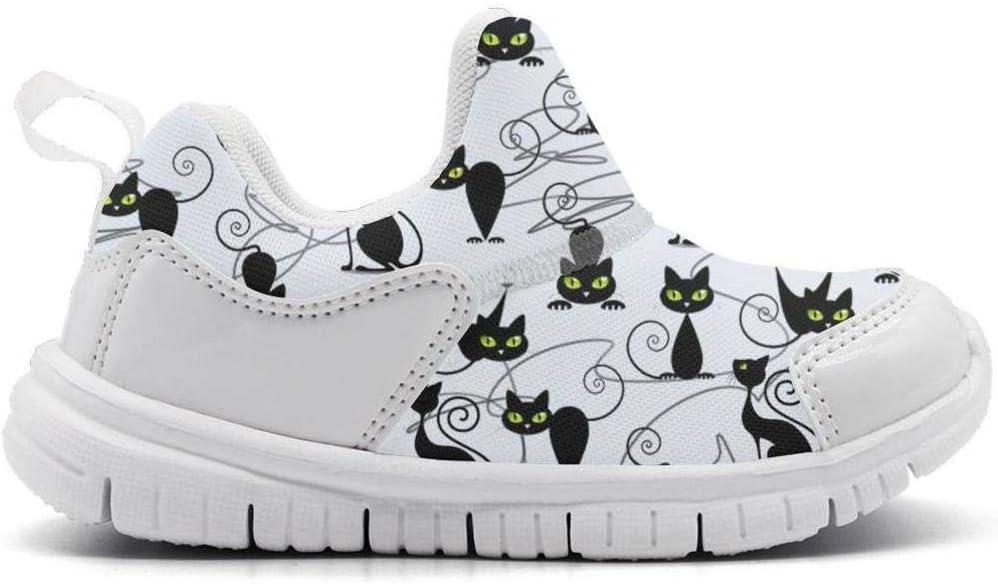 ONEYUAN Children Cute Black cat Print Kid Casual Lightweight Sport Shoes Sneakers Running Shoes
