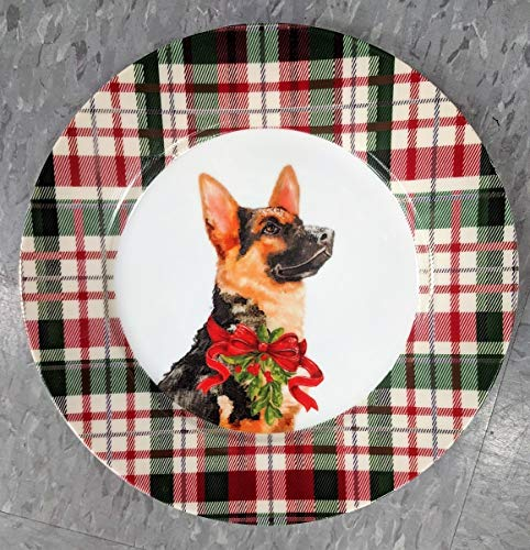 Celtic Canines Festive Decorative Holiday Salad or Display Plate with your favorite Dog (German Shepherd) -