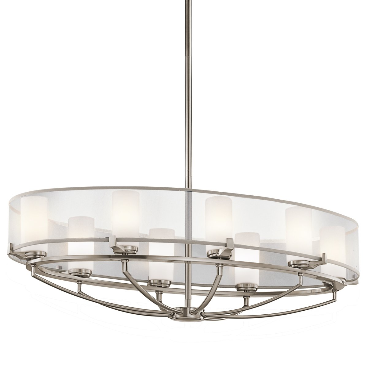 Kichler lighting 42922clp 8 light saldana oval pendant classic kichler lighting 42922clp 8 light saldana oval pendant classic pewter finish with etched opal glass diffuser and translucent organza fabric shade oval aloadofball Choice Image