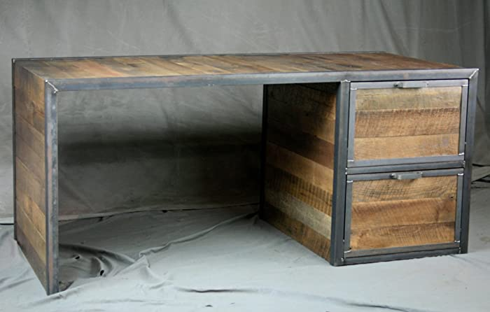Reclaimed Wood Desk With File Cabinet Drawers. Reclaimed Wood Top. Steel  Frame. Handmade
