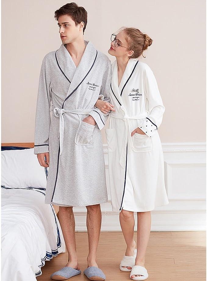 Xing Hua home Albornoces de Pareja de Primavera y otoño Batas de Felpa Ropa Deportiva de Manga Larga Gris Masculina Pijama Sexy Blanco de Mujer (Size : W155(s)): Amazon.es: Hogar