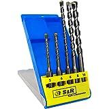 S&R Hammerbohrer, Steinbohrer, SDS Bohrer Set 5-tlg : 5,6, x 110mm; 6, 8, 10 x 160 mm für Bohrhammer