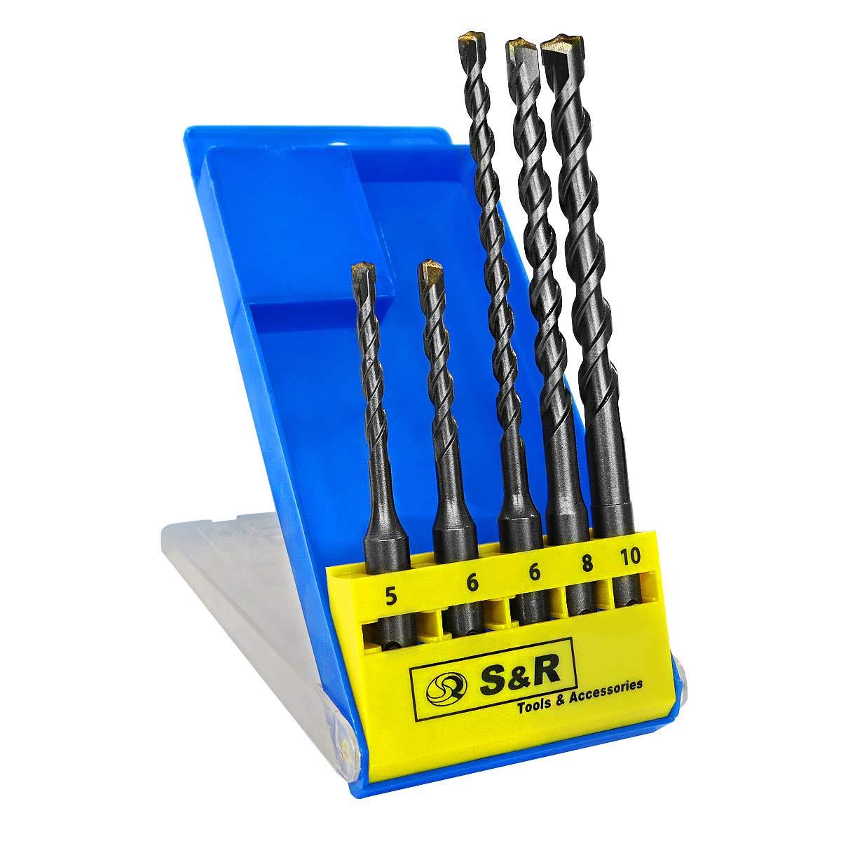 S&R Concrete Drill Bit Set SDS Plus, 5 Pieces: 5,6 x 100; 6, 8, 10 x 160 mm. For concrete, masonry, stone S&R Industriewerkzeuge GmbH