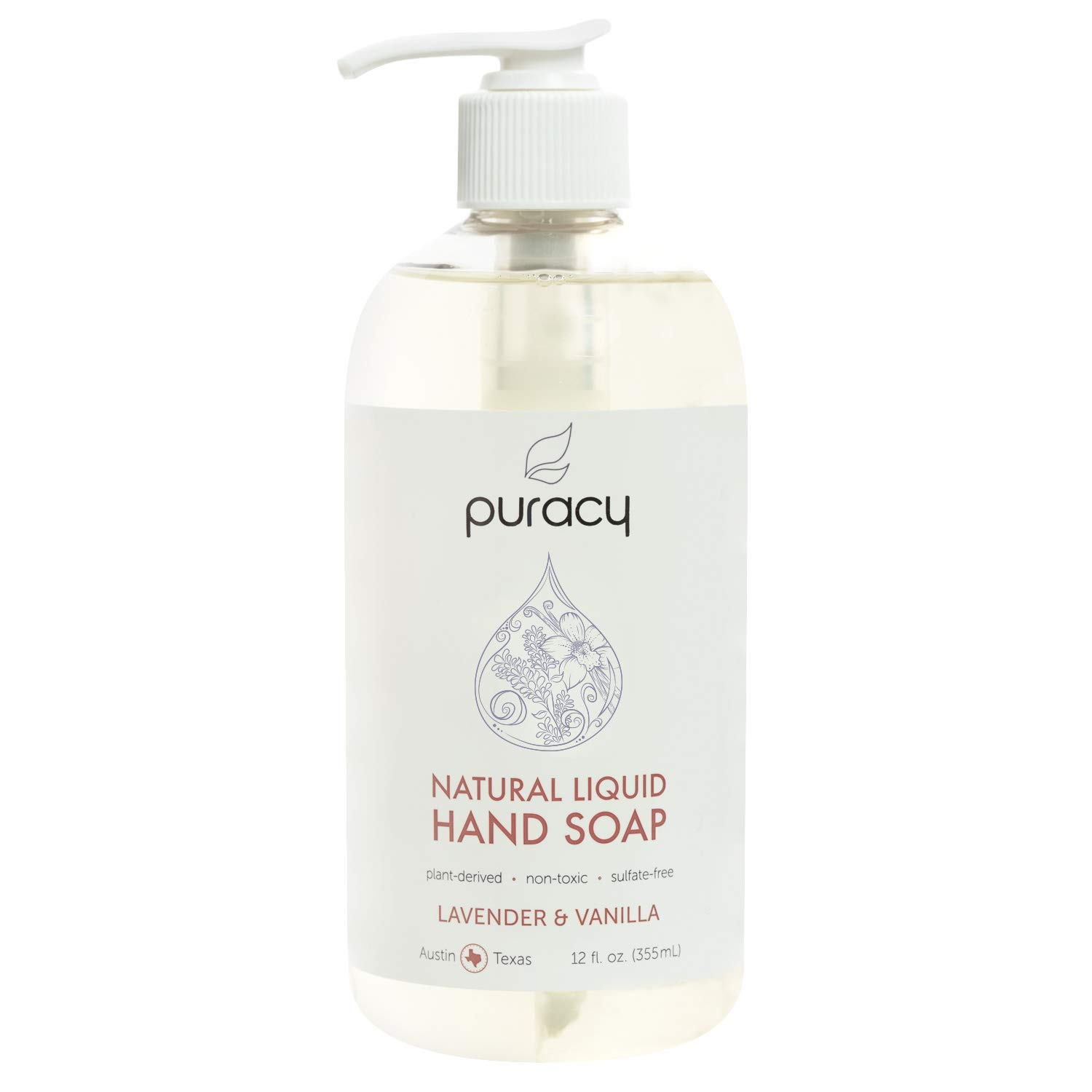 Puracy Natural Gel Hand Wash, Vegan, Hypoallergenic, All Skin Types (Lavender & Vanilla, 12 Fl. Oz (Pack of 1))
