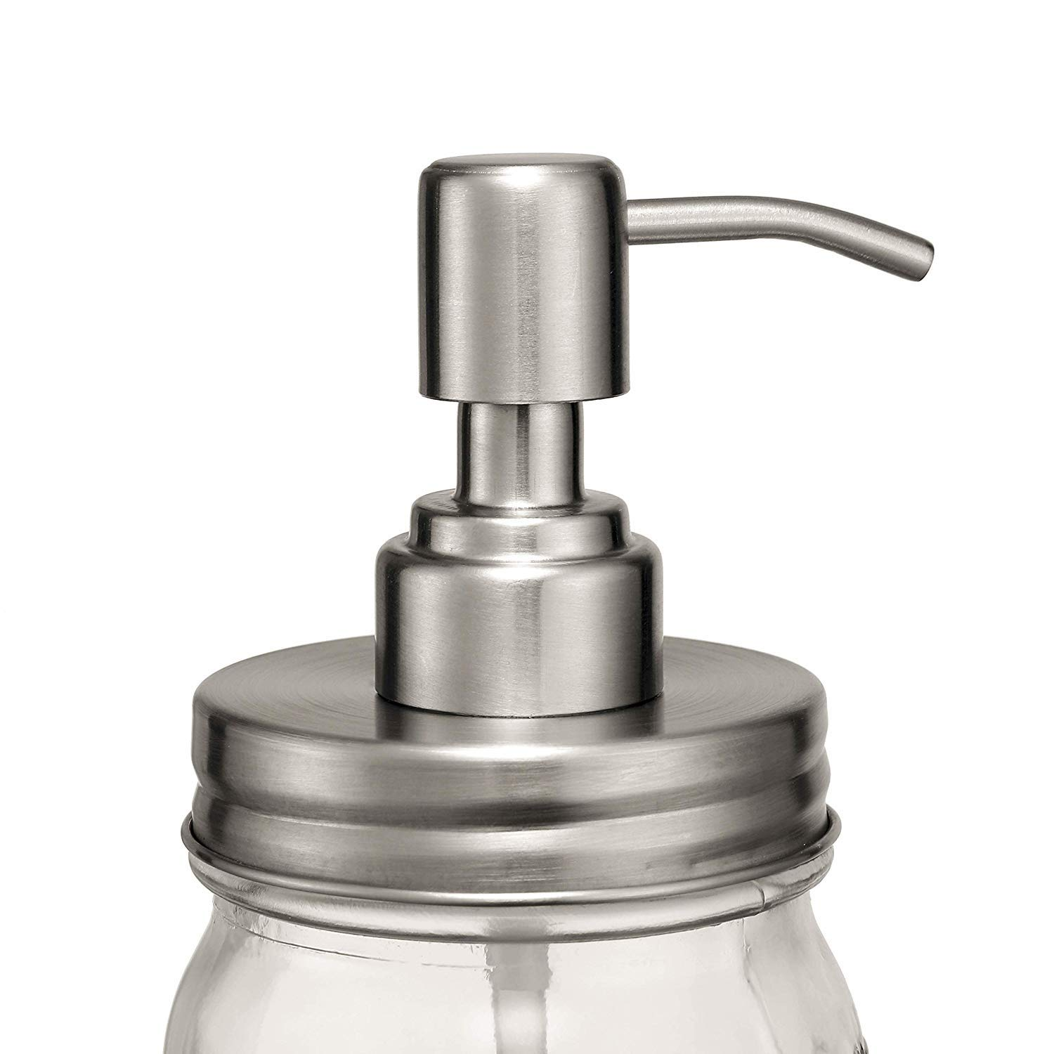 BTU Double Stainless Steel Soap Pump and Lotion Dispenser Lid,Replacement Rust Proof Soap and Lotion Dispenser Pump for Mason Jars or Other DIY Lotion Dispensers,2 in 1 Package (No Jars)