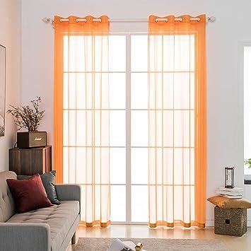 MIULEE Voile Tende Trasparenti con Occhielli Tenda per Finestra per  Soggiorno e Camera da Letto 2 Pannelli 140 x 145 CM Arancione