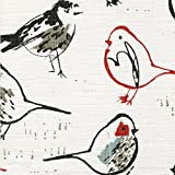 Bird Toile Scarlet Red Chinoiserie 84'' Shower Curtain Cotton Linen Unlined