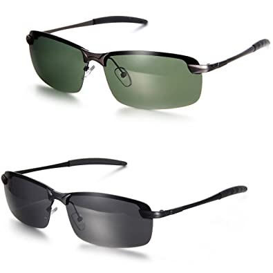 Aroncent Herren Damen Sonnenbrille, Strahlenschutz Polarisierte Coole Sonnenbrille, Halbrahmen Sonnenbrille, 2 Farben: Grün, Schwarz