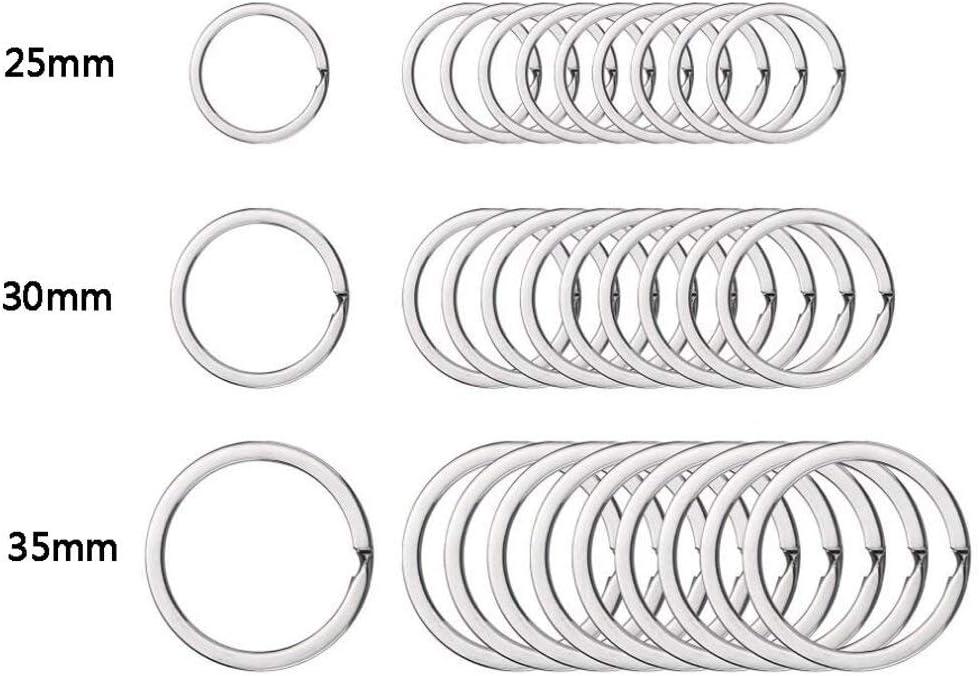 Edelstahl Ericotry Schl/üsselanh/änger-Ringe silber rund edelstahl 50 St/ück 3.5cm flach
