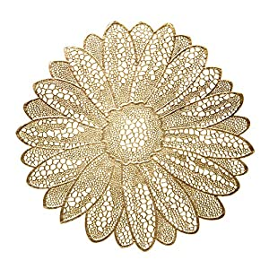 """ OCCASIONS"" 10 Pieces Pack Pressed Vinyl Metallic Placemats/Wedding Accent Centerpiece Placemat (Fiore Gold)"