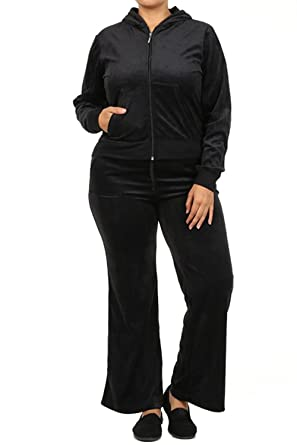 f49d151bfbc 2 Piece Womens PLUS SIZE Velour SET JOGGING set Hoodie PANTS Track Suit  1X-2X-3X at Amazon Women s Clothing store