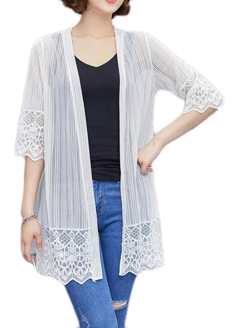 UUYUK-Women Open Front 3//4 Sleeve Solid Color Mesh Shawl Cardigans